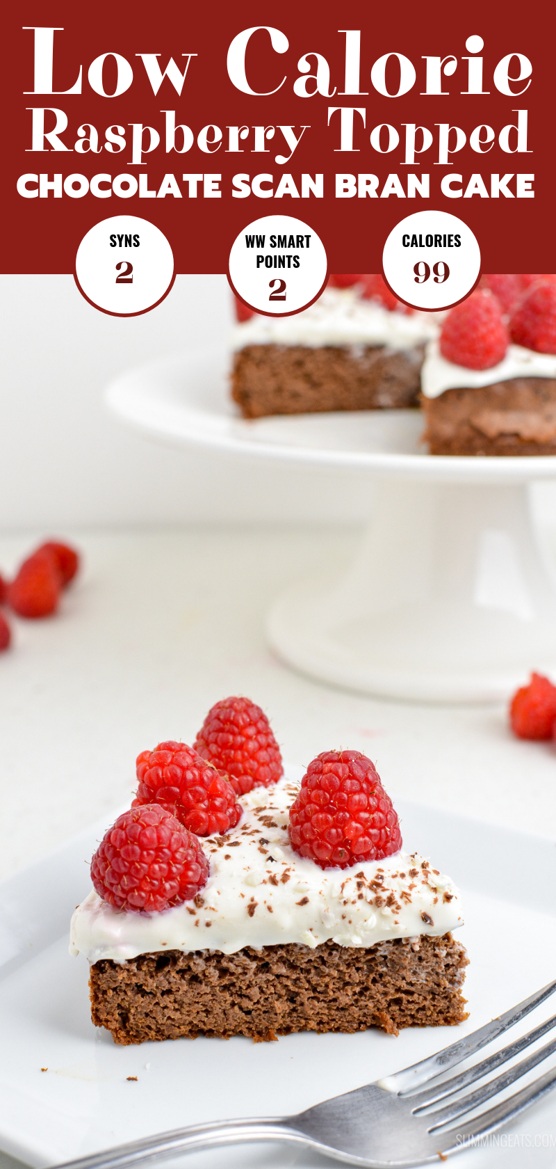 low calories raspberry topped chocolate scan bran cake pin image