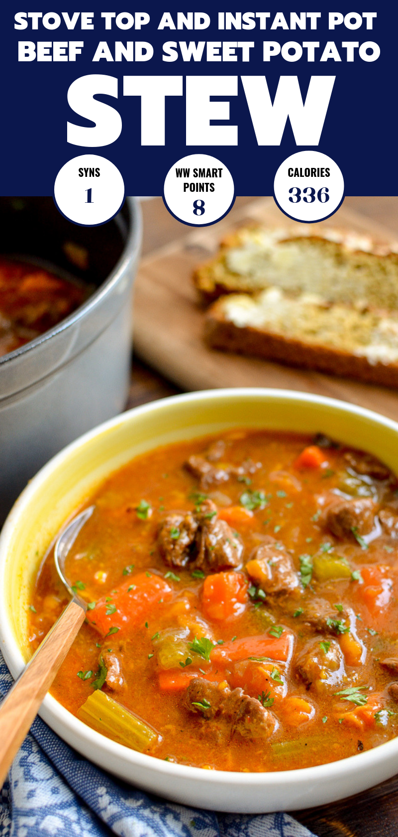 beef and sweet potato stew in white and yellow bowl with wooden spoon pin image