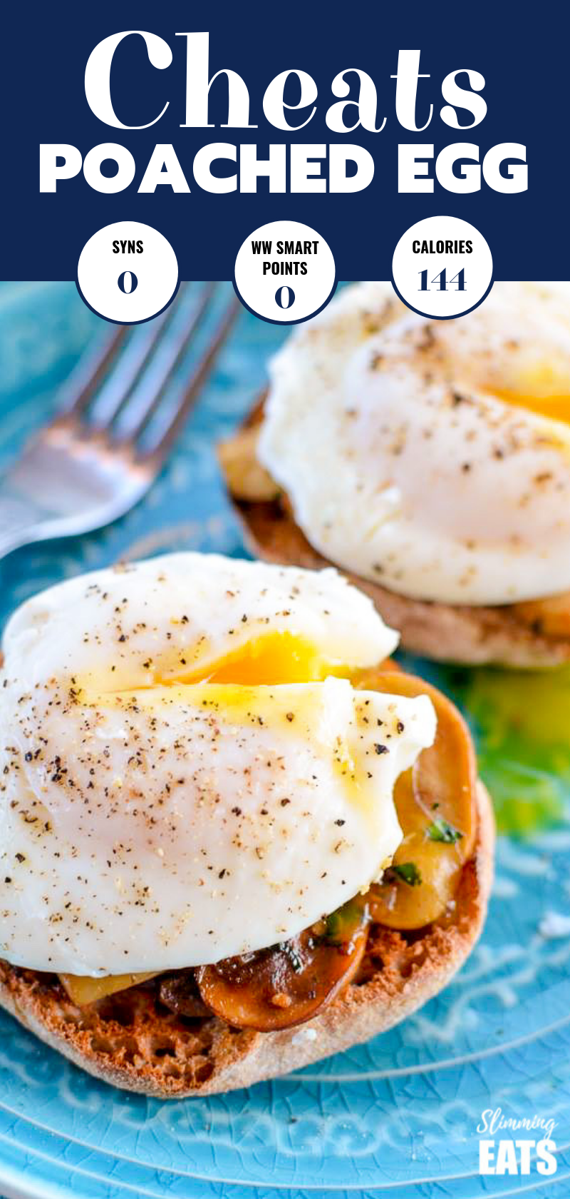 cheats poached eggs over mushrooms and whole wheat English muffins on a blue plate.