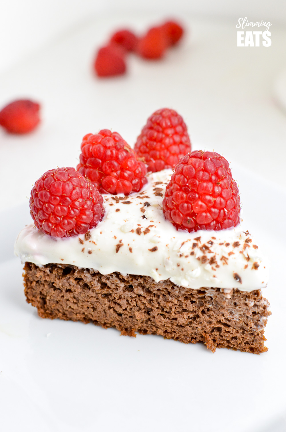 close up of Raspberry Topped Chocolate Scan Bran Cake on white plate.