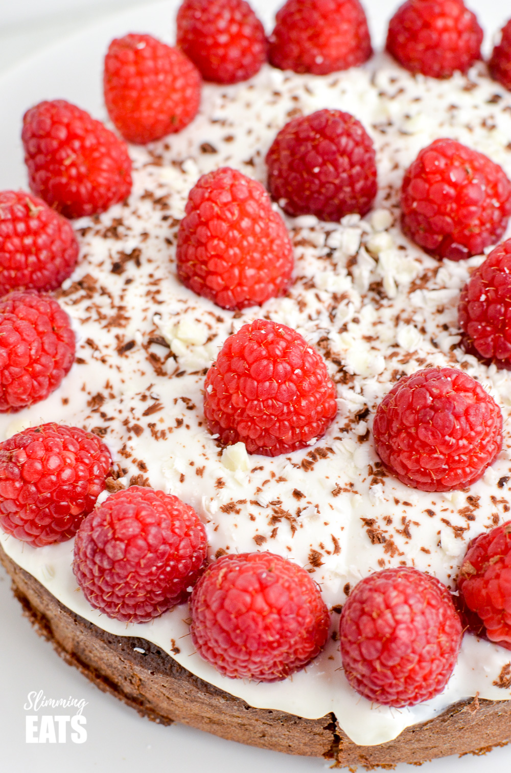 close up of  Raspberry Topped Chocolate Scan Bran Cake