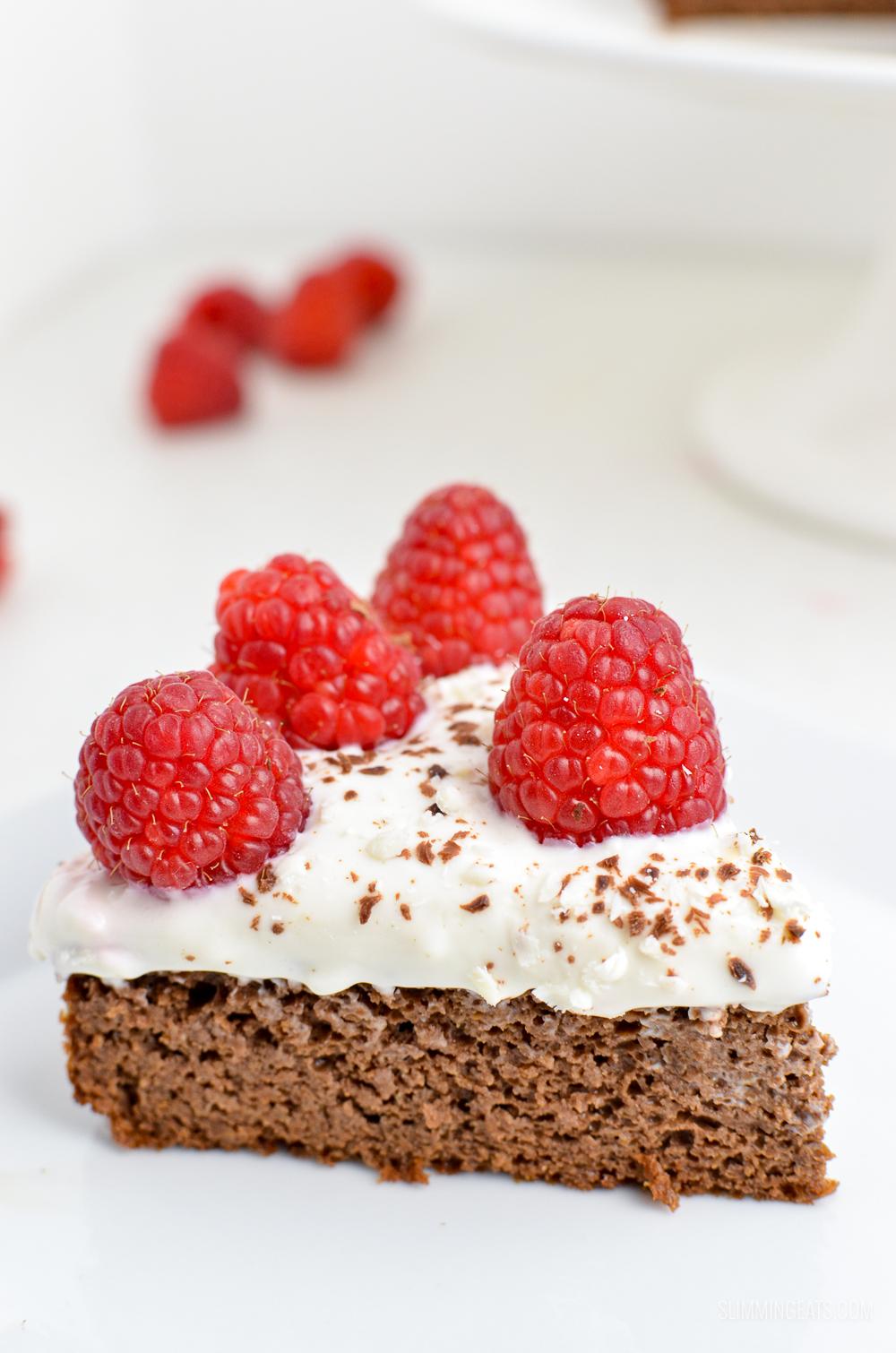 Raspberry Topped Chocolate Scan Bran Cake Slimming Eats