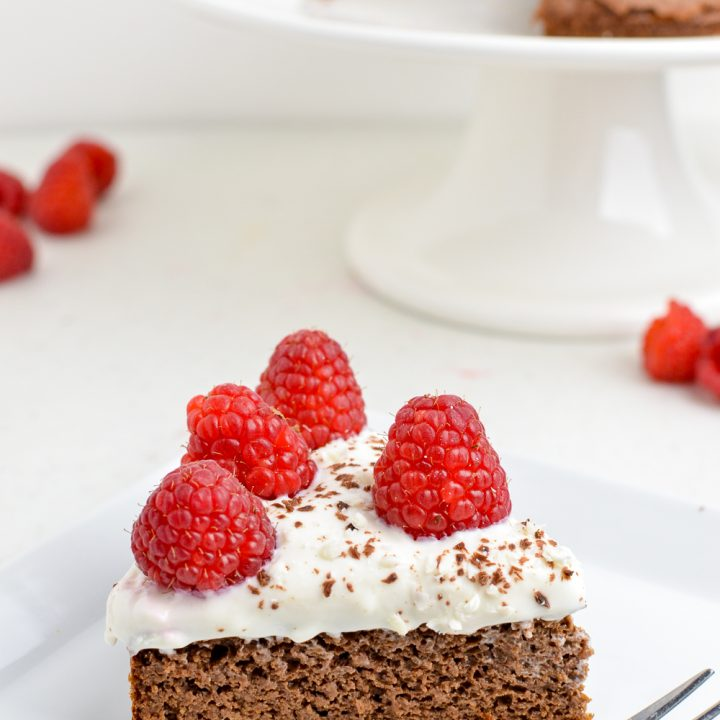 Raspberry Topped Chocolate Scan Bran Cake