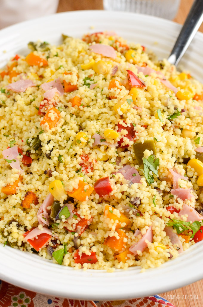close up of syn free roasted vegetables and ham couscous in a white bowl