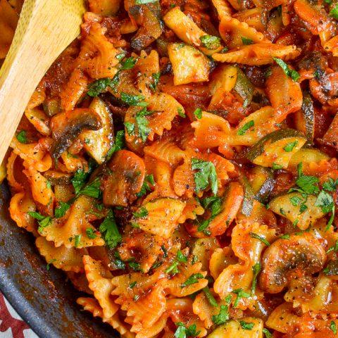 Syn Free Mushroom, Bacon, Tomato and Zucchini Pasta