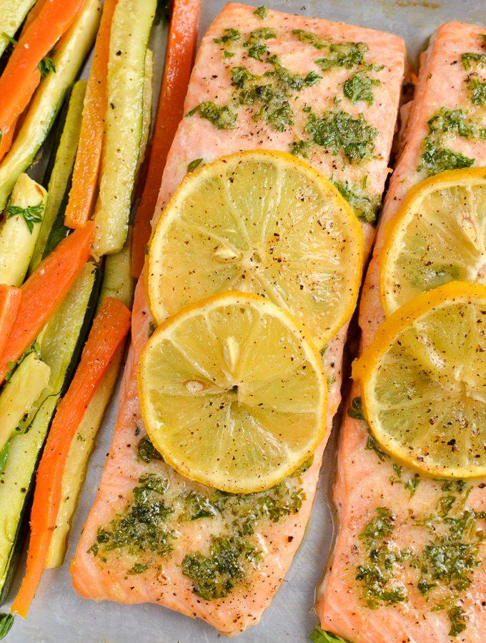Lemon and Herb Butter Salmon Traybake | Slimming World