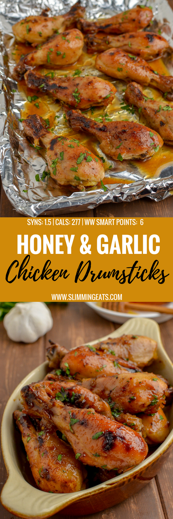 Just a couple of simple ingredients come together to make this delicious Honey and Garlic Chicken. A dish the whole family will love. Gluten Free, Dairy Free, Paleo, Slimming World and Weight Watchers friendly | www.slimmingeats.com