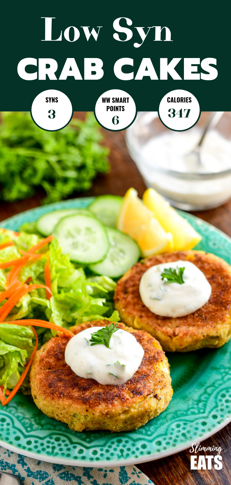 low syn crab cakes on a green plate with side salad pin image