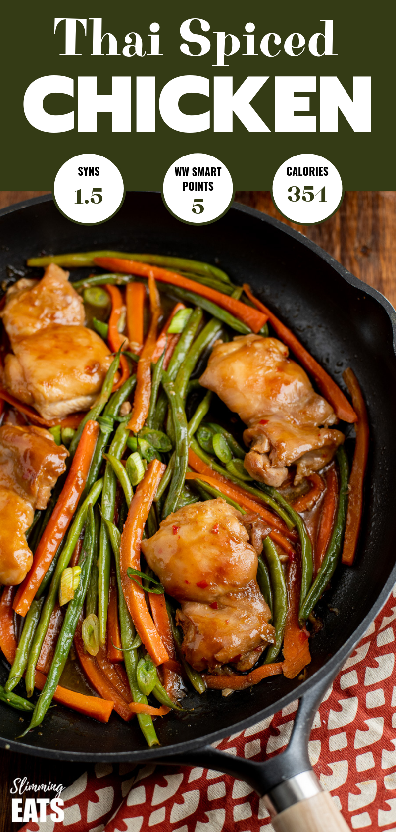 thai spiced chicken in frying pan with wooden handle pin image