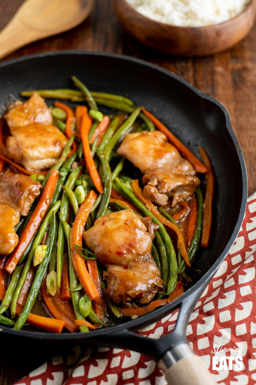 Thai Spiced Chicken in black frying pan