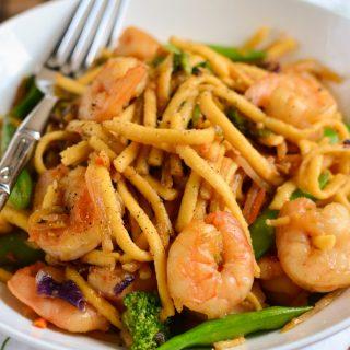Ginger and Garlic Shrimp with Noodles