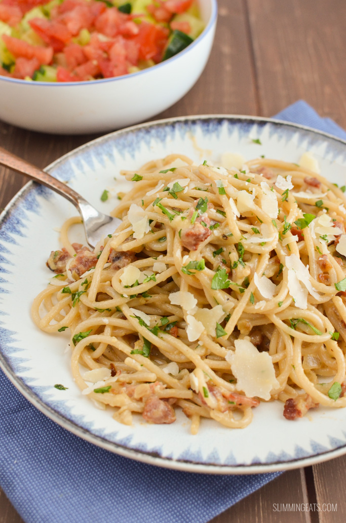 Slimming Eats Best Ever Syn Free Spaghetti Carbonara - gluten free, Slimming World and Weight Watchers friendly