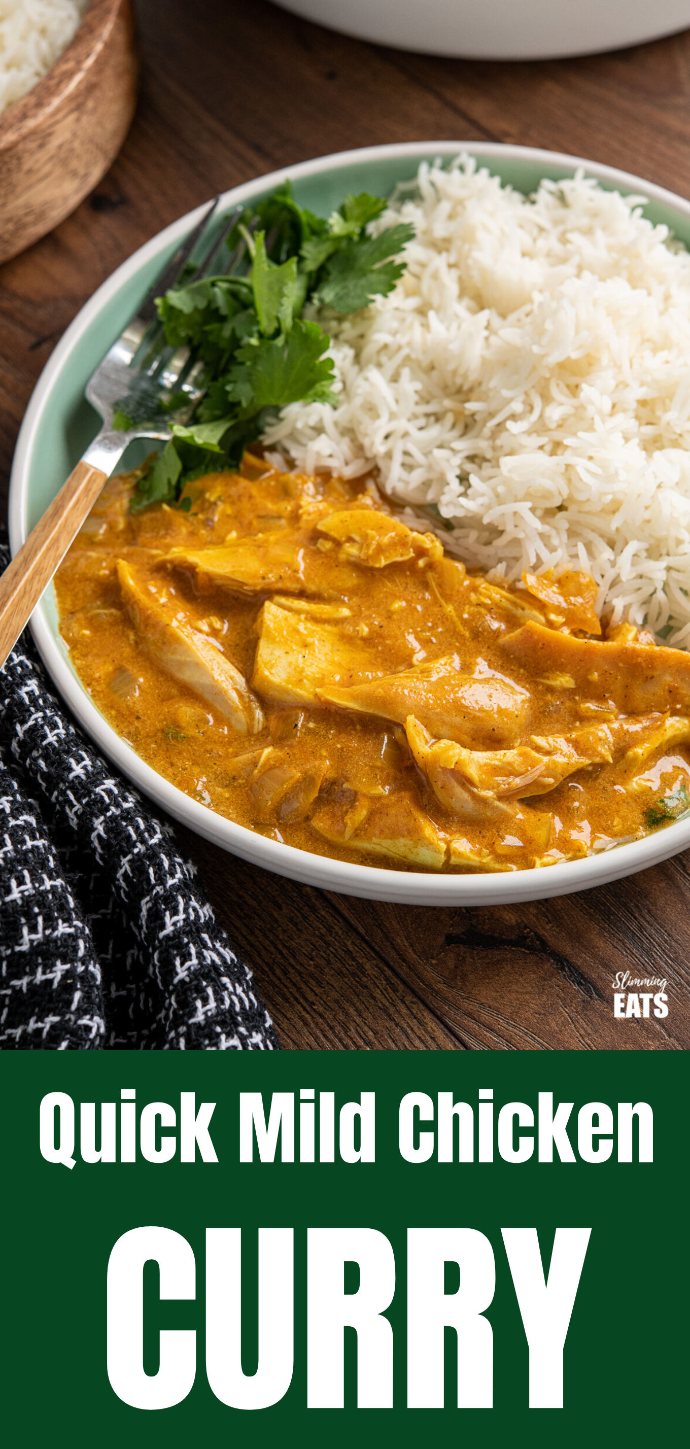 Mild chicken curry featured pin image