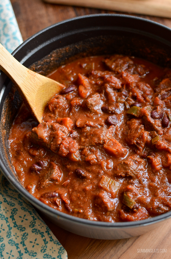 close up of chilli in cast iron casserole pot