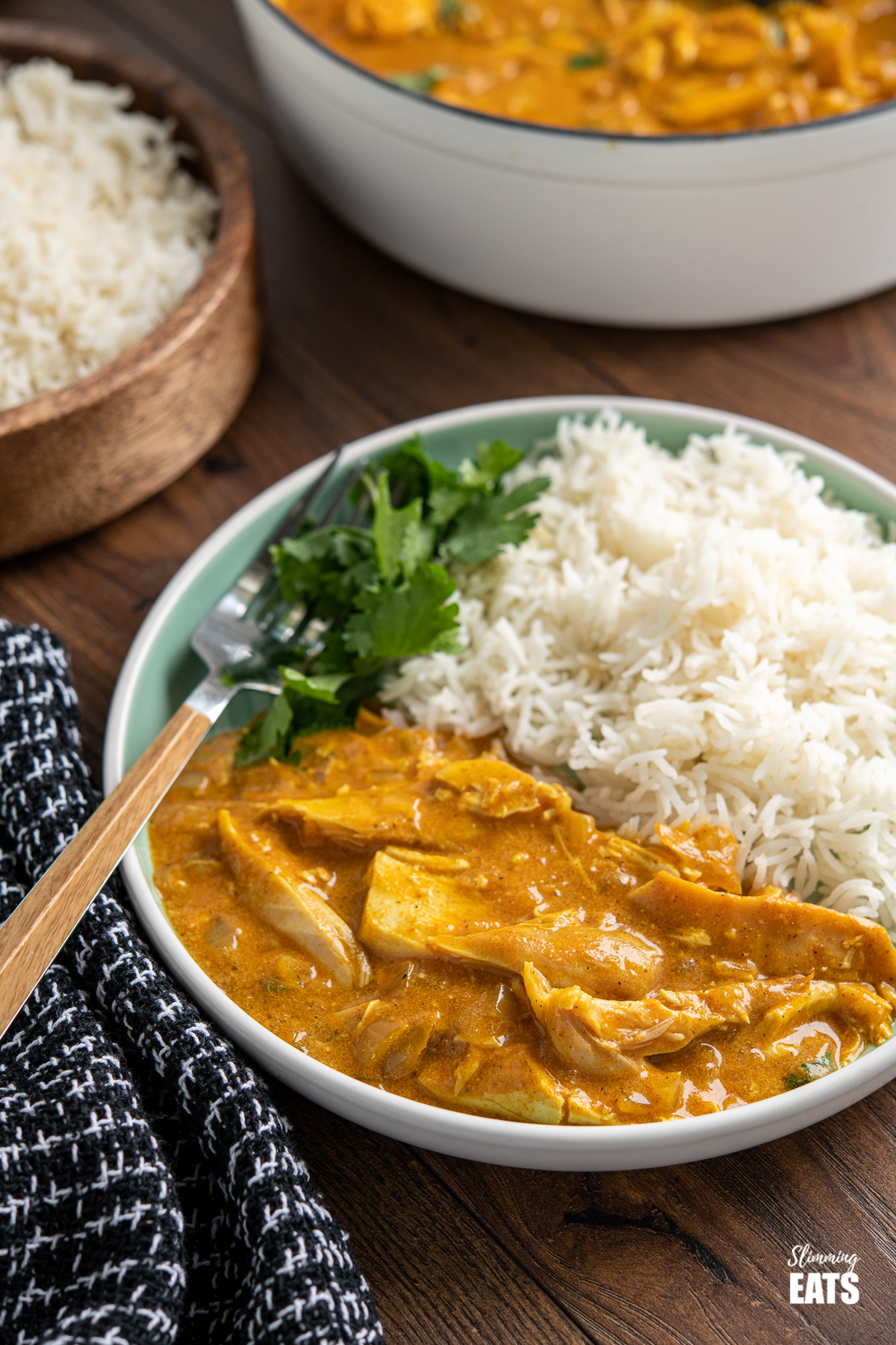 Mild chicken curry on teal plate with rice and coriander