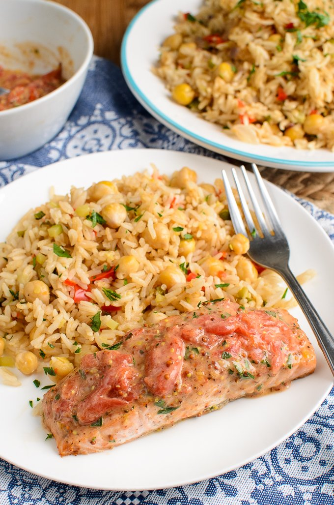 Salmon And Tomatoes With Rice Pilaf Slimming Eats