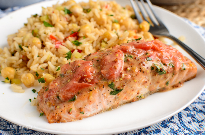 Slimming Eats - Low Syn Salmon and Tomato with Rice Pilaf - gluten free, Slimming World and Weight Watchers friendly