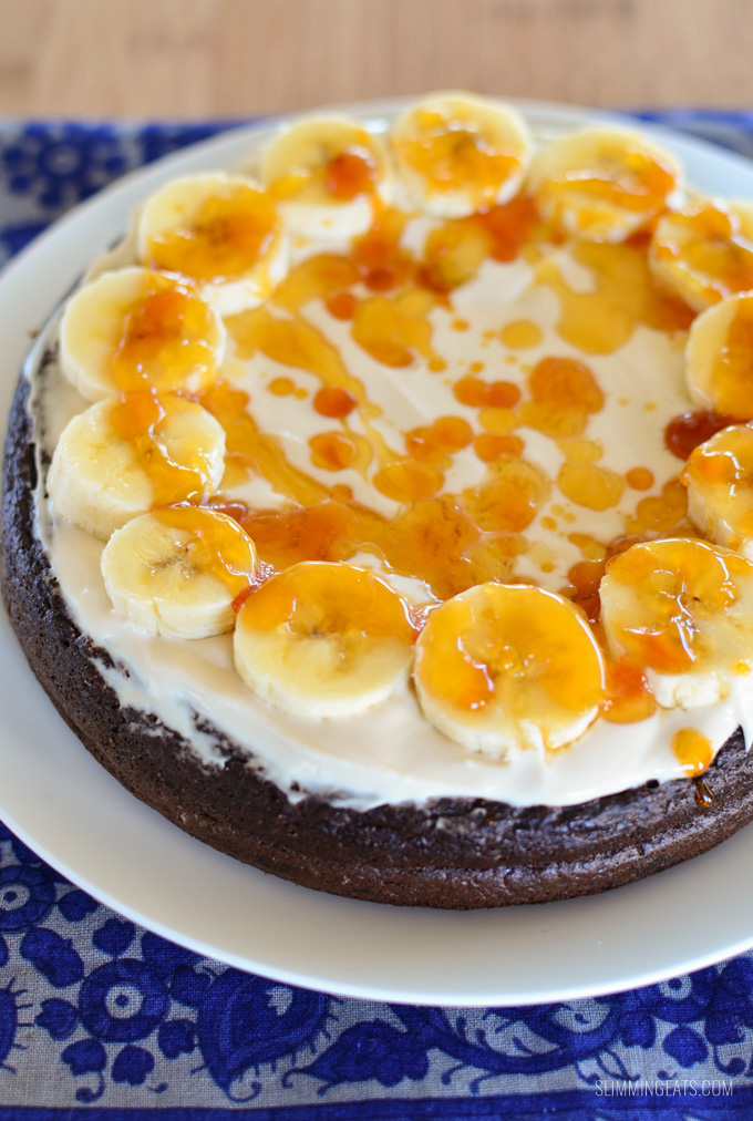 Slimming Eats Low Syn Toffee Banana Chocolate Weetabix Cake - vegetarian, Slimming World and Weight Watchers friendly