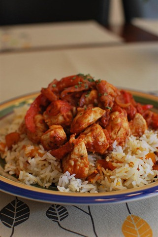 Balsamic Chicken with Tomatoes and Roasted Butternut Squash Rice