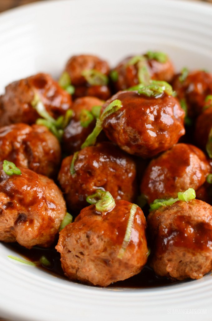 Chicken Meatballs in Hoisin Sauce - dairy free, Slimming World and Weight Watchers friendly