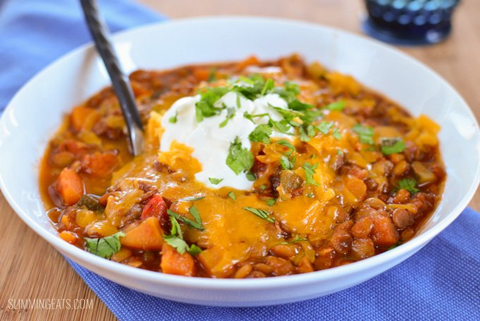 Slimming Eats Sweet Potato, Vegetable and Lentil Chilli - gluten free, dairy free, vegetarian, Slimming World and Weight Watchers friendly