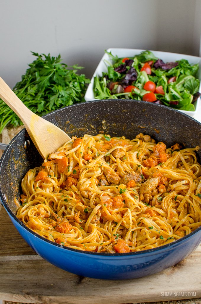 Slimming Eats Syn Free Paprika Chicken with Roasted Butternut Squash and Linguine - Slimming World and Weight Watchers friendly