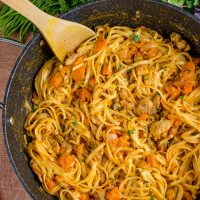 Syn Free Paprika Chicken with Roasted Butternut Squash and Linguine