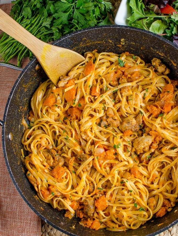 Paprika Chicken with Roasted Butternut Squash and Linguine