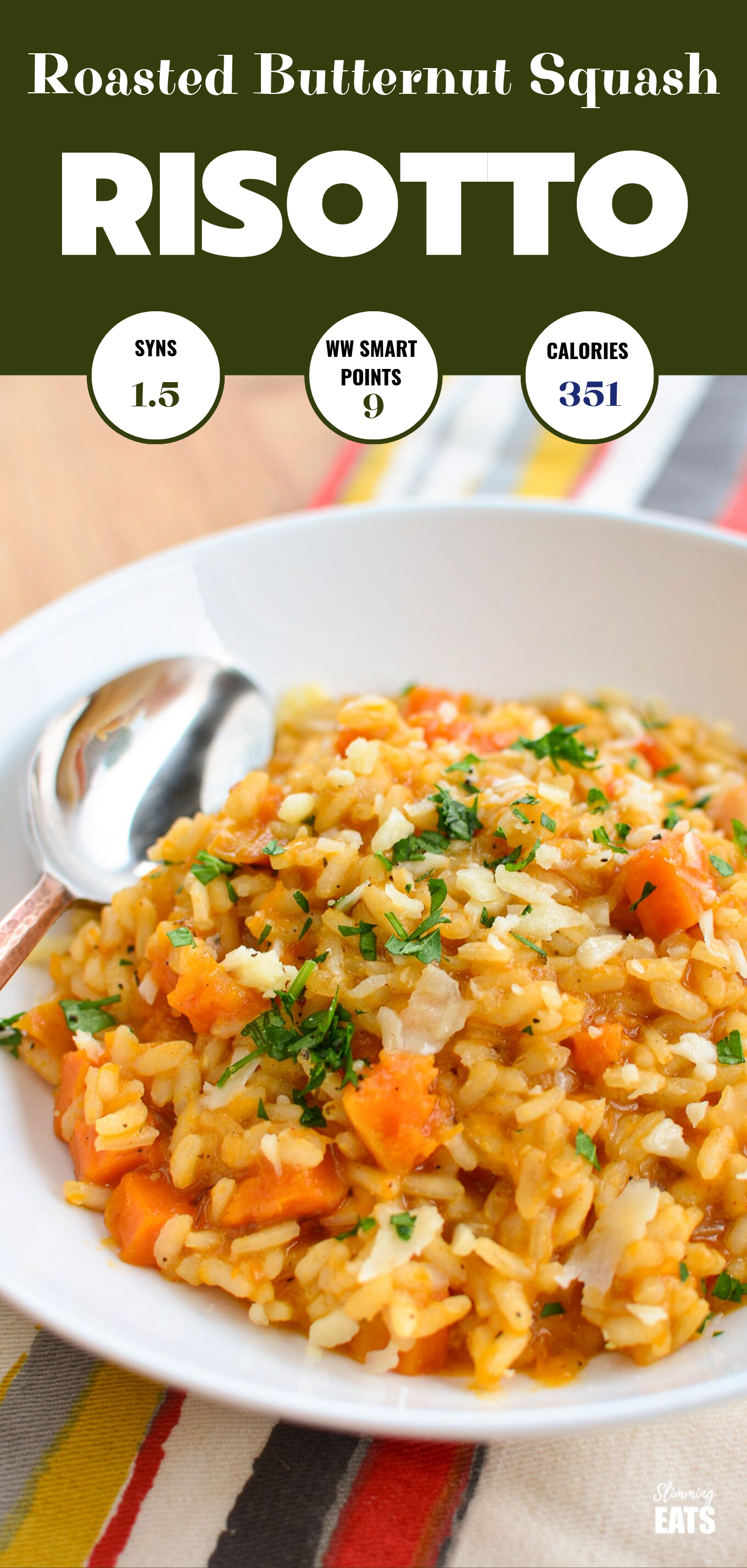roasted butternut squash risotto, pin image