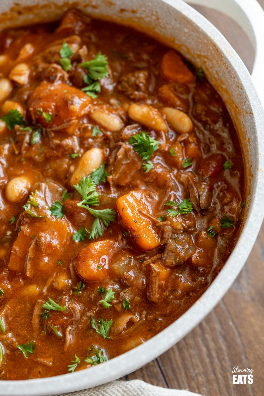 close up of Tuscan Beef Casserole in deep pot