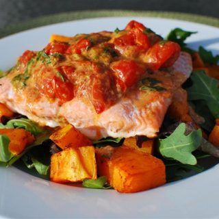 Baked Salmon with Roasted Tomatoes and Butternut Squash