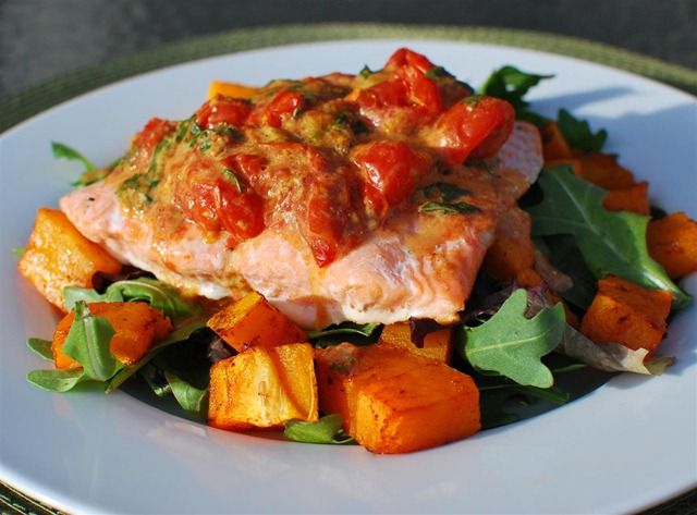 Slimming Eats Baked Salmon with Roasted Tomatoes and Butternut Squash - gluten free, Slimming World and Weight Watchers friendly