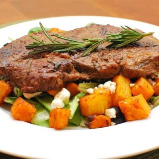 Rosemary and Garlic Steak with a Roasted Butternut Squash and Feta Cheese Salad