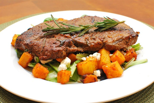 Slimming Eats Rosemary and Garlic Steak with Roasted Butternut Squash and Feta - gluten free, Slimming World and Weight Watchers friendly