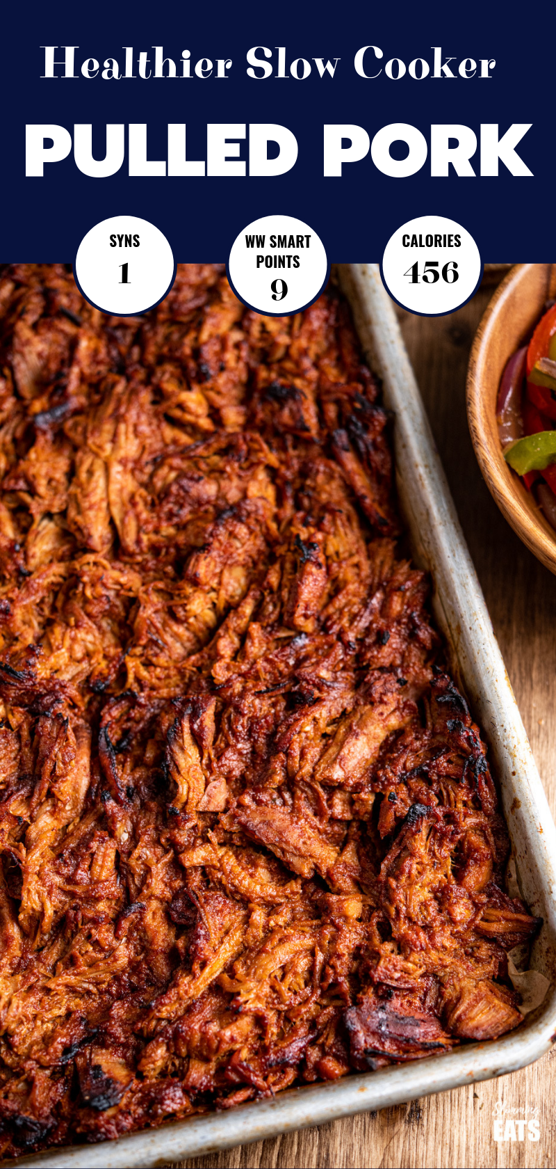 slow cooker pulled pork on tray pin image