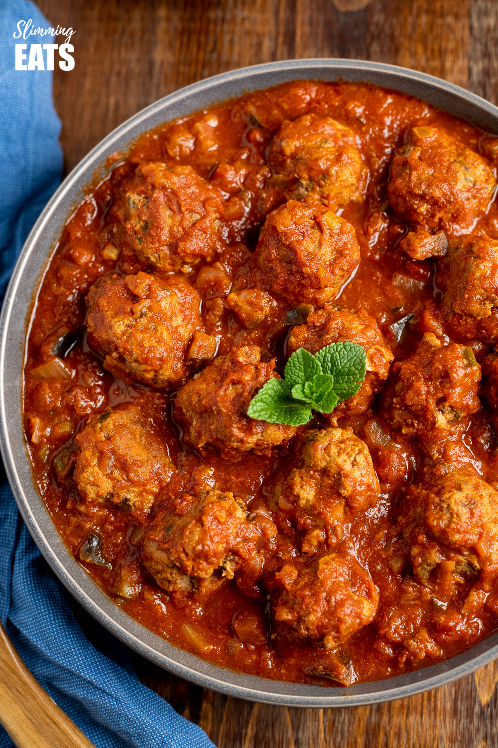 close up of lamb and mint meatballs in a sweet and spicy sauce