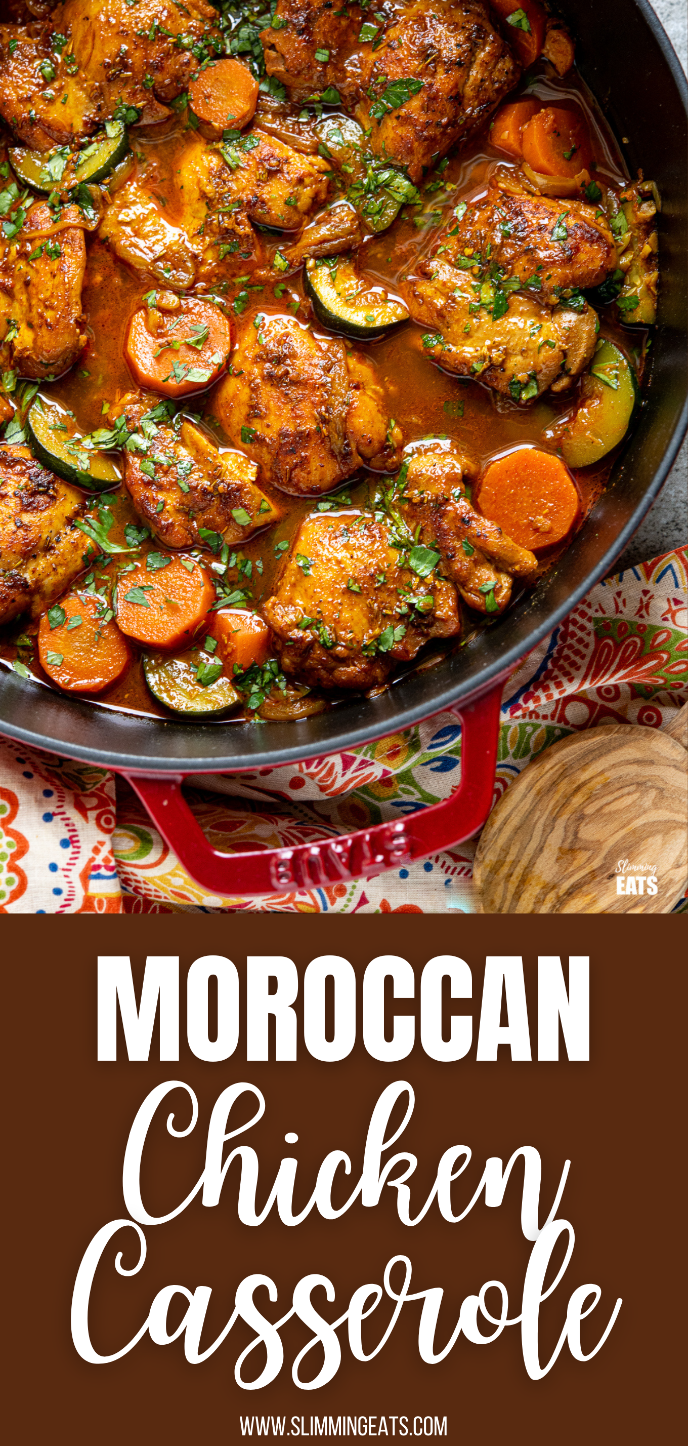 Moroccan Chicken Casserole in cherry cast iron pan