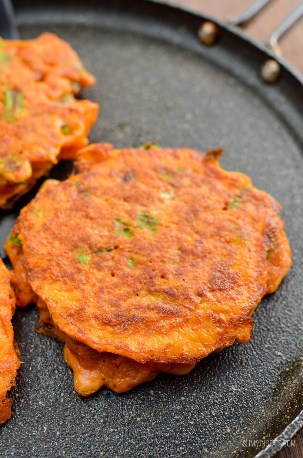 close up of low Syn Thai Crab Cakes on a skillet