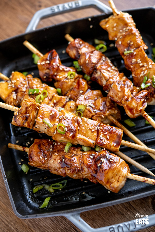Yakitori Chicken Skewers on grey staub grill pan