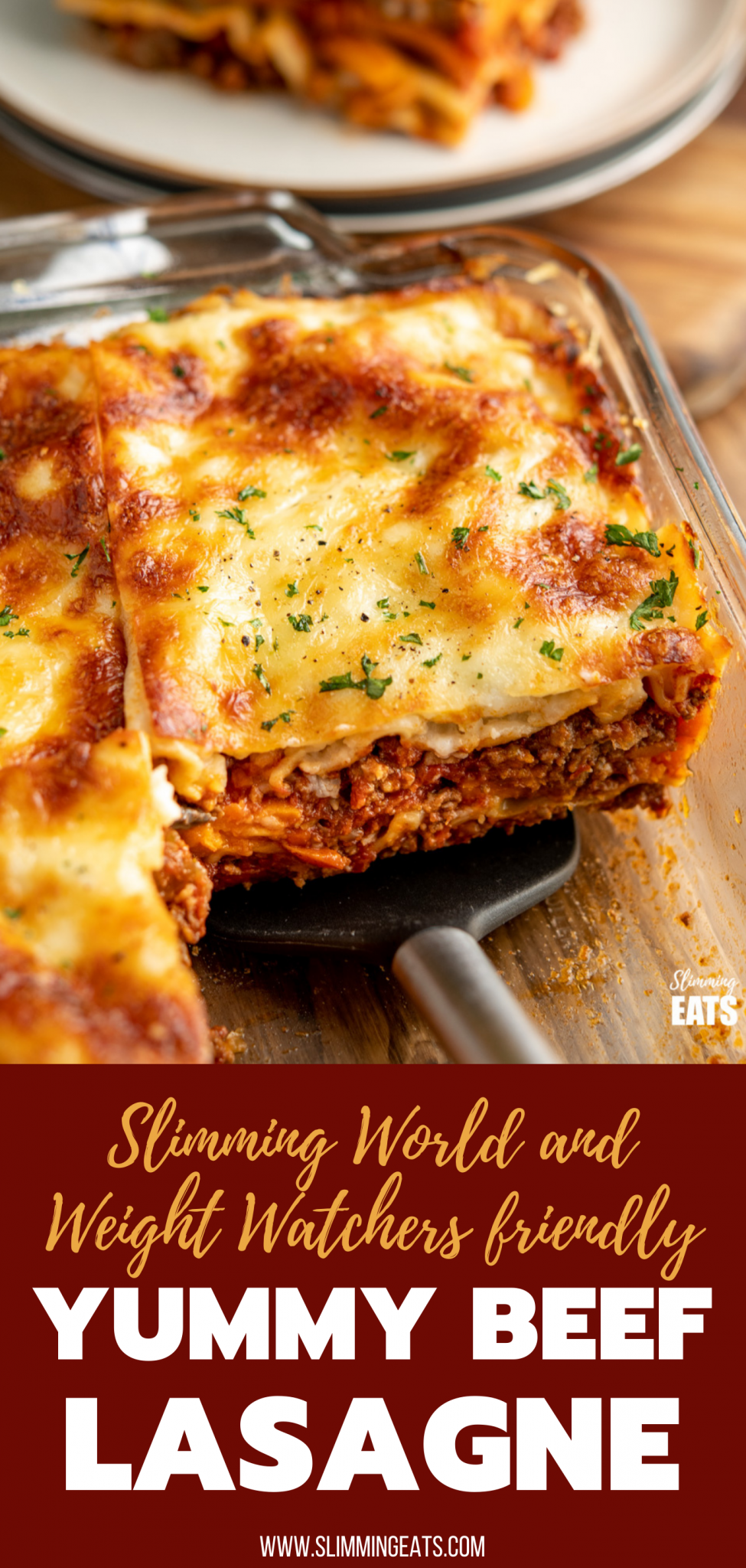 yummy beef lasagne slice on a spatula from oven dish