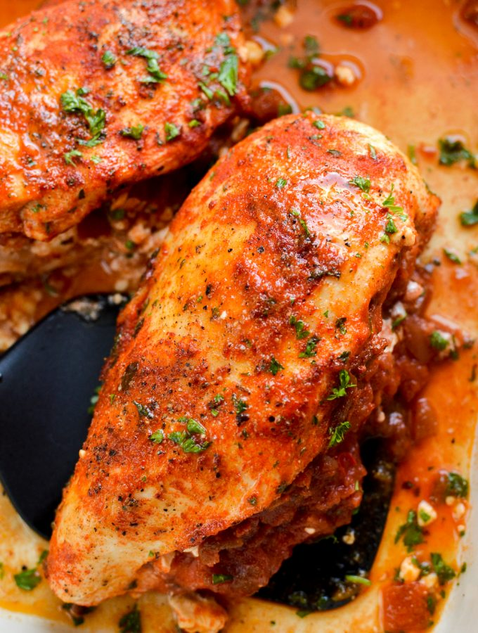 Spicy Chicken Stuffed with Feta Cheese and Salsa