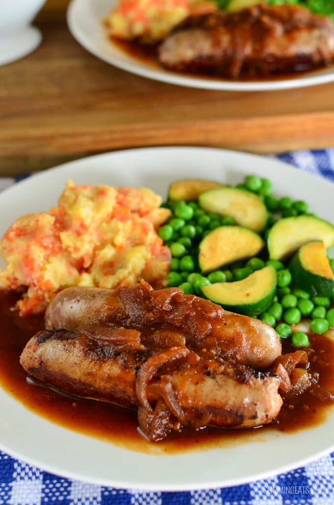 Slimming Eats Sausages and Mash with Syn Free Gravy - gluten free, dairy free, vegetarian, paleo, Whole30, Slimming World and Weight Watchers friendly