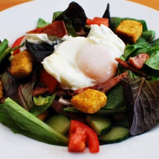 Warm Bacon and Poached Egg Salad