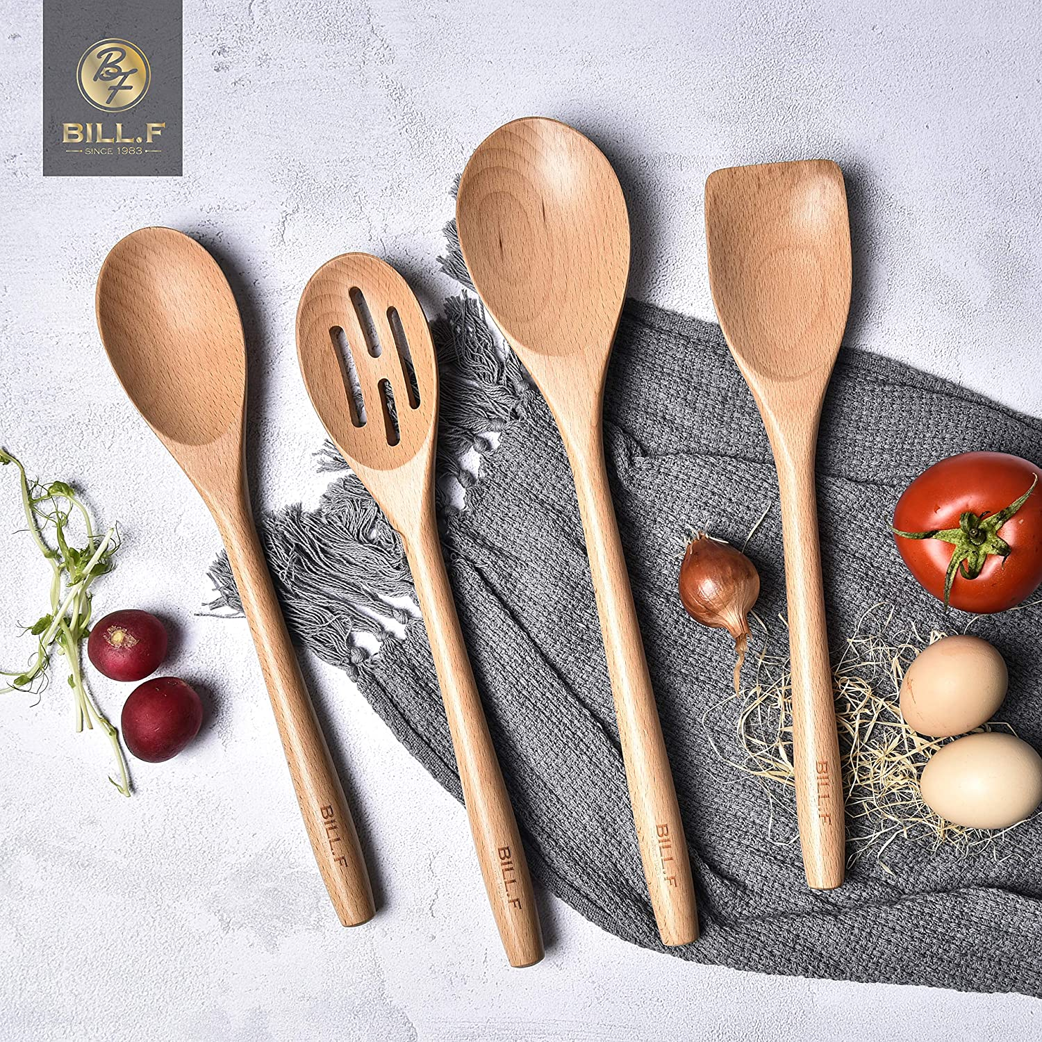Beech Wooden Cooking Utensil Set, Kitchen Cooking Tools Kitchen Gadgets 4 Pieces Spoon & Spatula Mix Perfect for Nonstick Pots and Pans Cookware Turner
