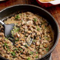 Creamy Garlic Mushrooms with Roasted Jacket Potatoes