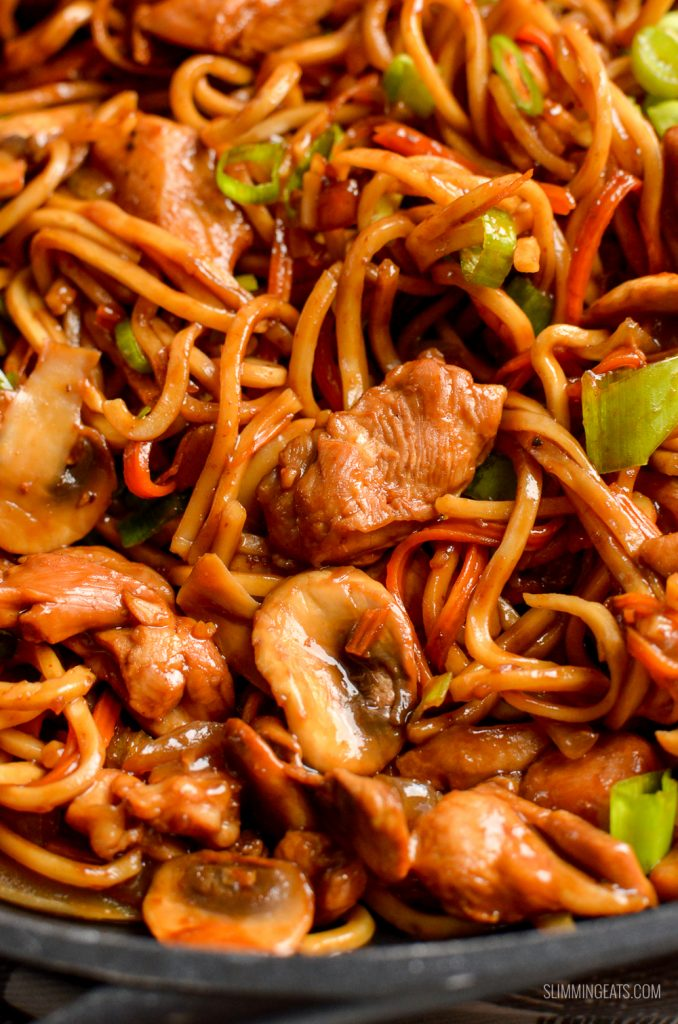 close up of Ginger Chicken with Mushrooms and Noodles in pan