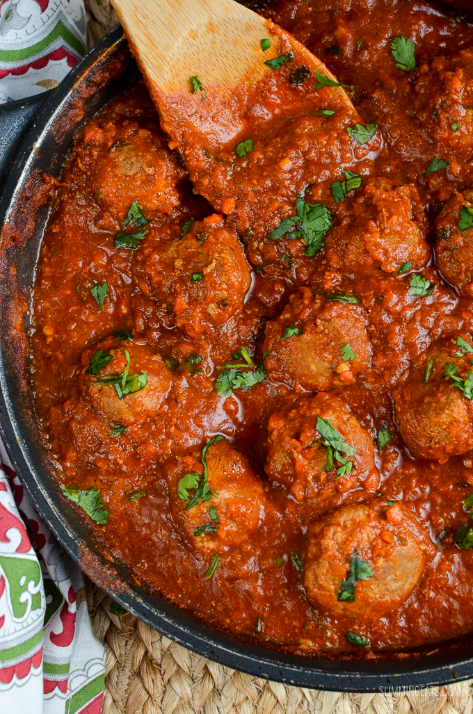 Slimming Eats Lamb Meatballs with a Spicy Tomato Sauce - gluten free, dairy free, paleo, whole30, Slimming World and Weight Watchers friendly