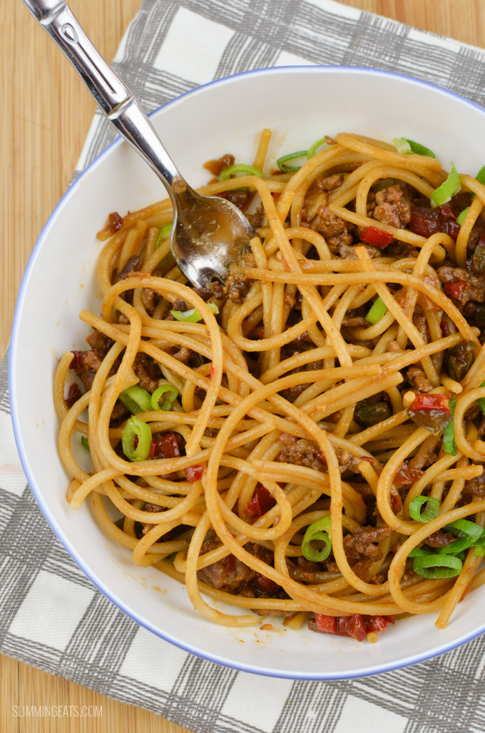 Slimming Eats Chilli Beef Noodles - gluten free, dairy free, paleo, Slimming World and Weight Watchers friendly