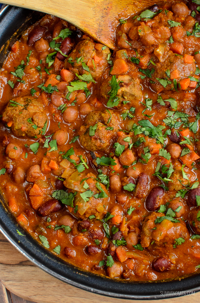 close up of lamb meatballs and bean curry