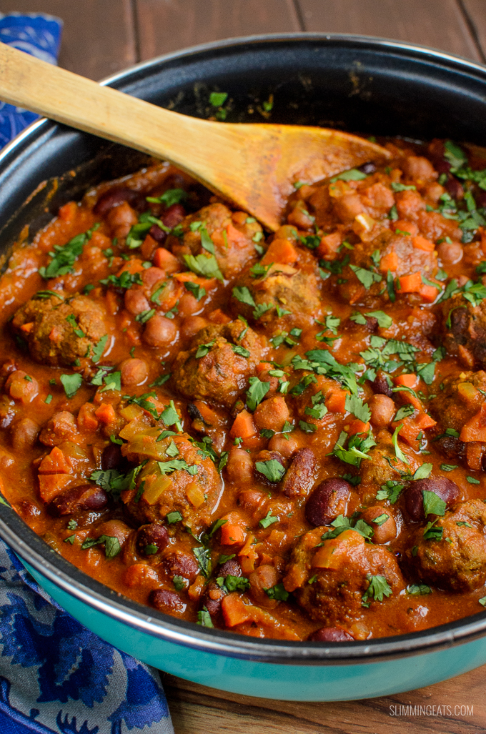 pan of lamb meatball and bean curry